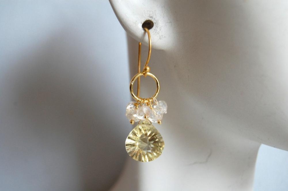 AAA Lemon quartz and moonstone earrings