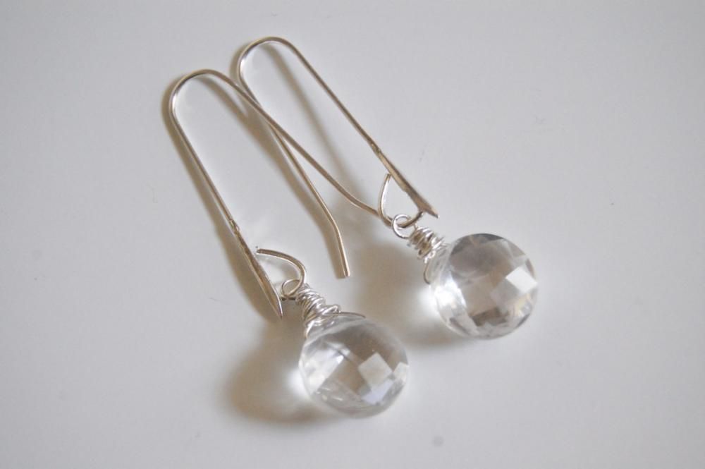 Clear Crystal Quartz earrings with sterling silver