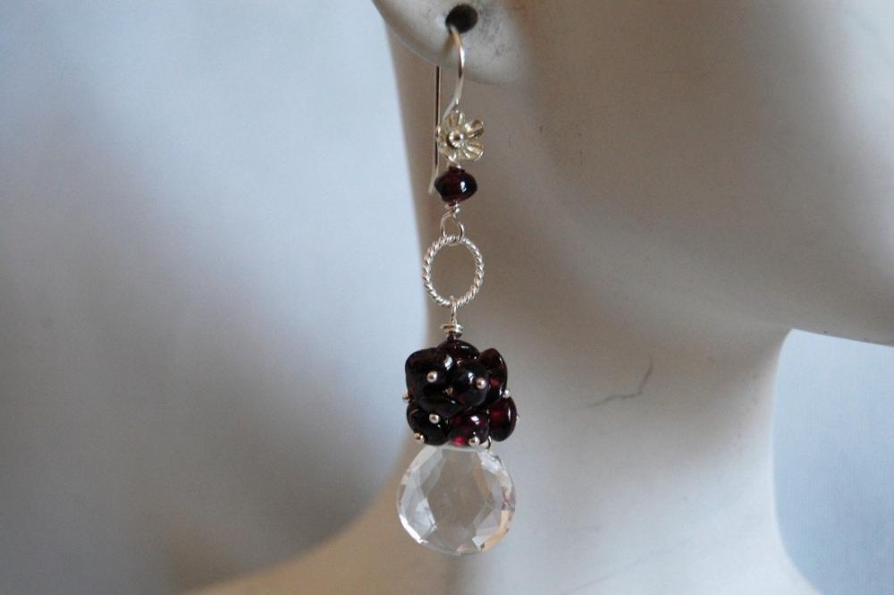 Heart briolette Crystal quartz and garnet earrings