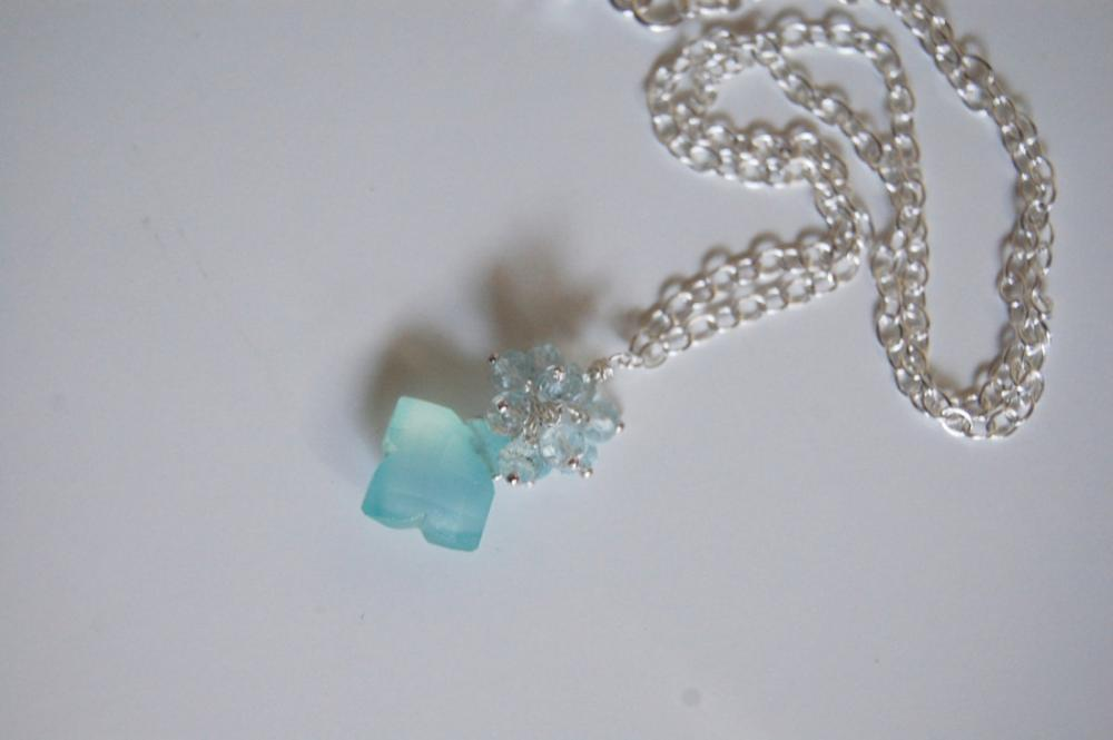 Rare Blue square chalcedony and blue zircon necklace