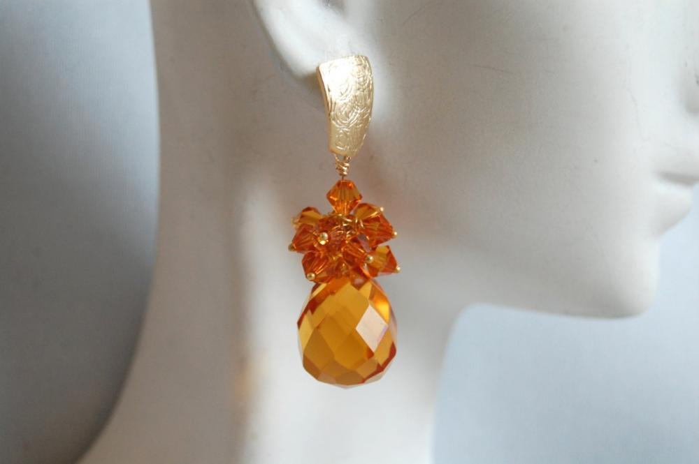 Golden Yellow Quartz briolette and Swarovski crystal bicone dangle earrings