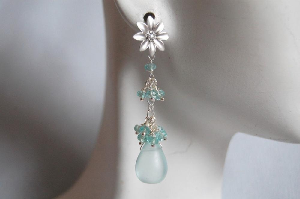 Mist light blue quartz briolette and apatite earrings